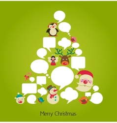 Christmas tree with cute speech bubbles vector