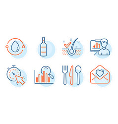 Cold-pressed oil search and love letter icons set vector