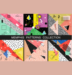 Collection abstract memphis patterns vector