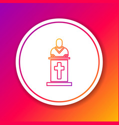 Color line church pastor preaching icon isolated vector
