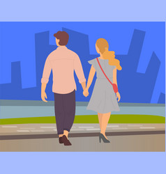 Couple walks in cityscape young couple holding vector