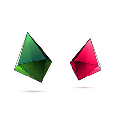 crystals set pink green vector image