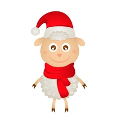 cute sheep in a Christmas hat vector image