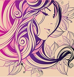 decorative composition with girl flowers in her vector image