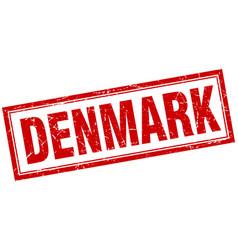 Denmark red square grunge stamp on white vector