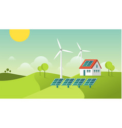 Eco friendly modern house green energy vector