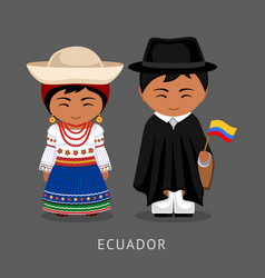 ecuadorians in national dress with a flag vector image