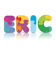 Eric written with alphabet puzzle vector