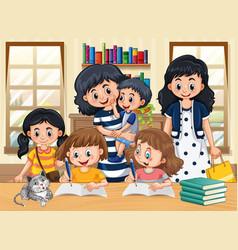 Family member with kids doing homework cartoon vector