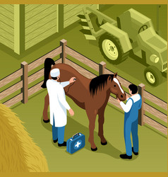 Farm veterinary isometric composition vector