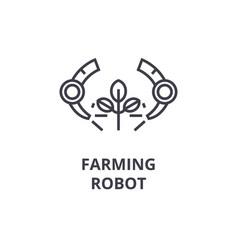Farming robot line icon outline sign linear vector