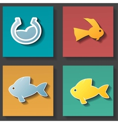 Fish icons set vector