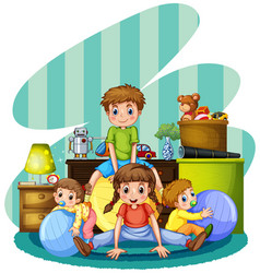 four children playing in room vector image