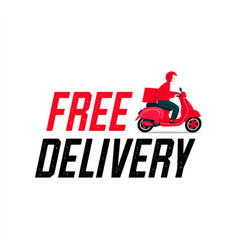 free delivery man riding a scooter vector image
