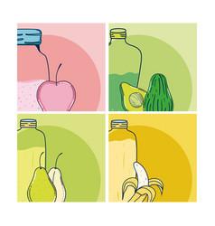 fruit juice cards vector image