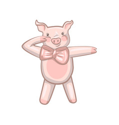 funny dancing pig with a bow vector image