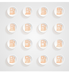 Gas pump Icons button shadows set vector