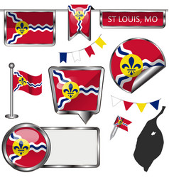 Glossy icons with flag st louis mo vector
