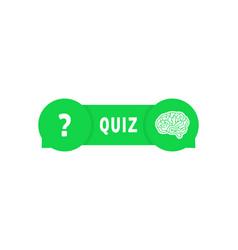 Green quiz button with speech bubbles vector