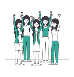 group of women with hands up and green clothes vector image