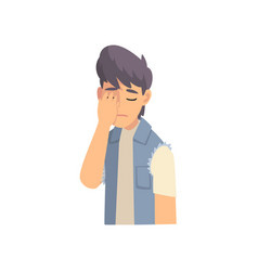 Guy covering his face with hand fashionable teen vector