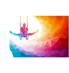 Gymnastics rings silhouette on color geometric vector