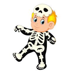 Happy kid wearing skeleton costume vector
