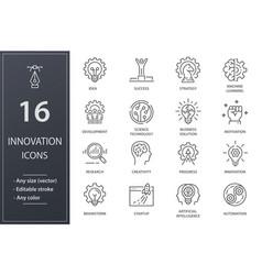 Innovation line icons set black vector
