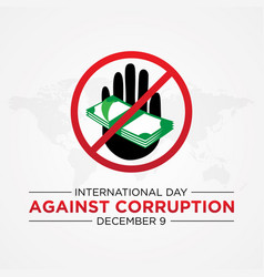 international day against corruption with stop vector image
