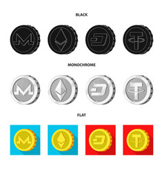 isolated object of cryptocurrency and coin icon vector image