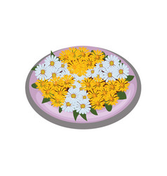 isometric cartoon flower bush bed with vector image