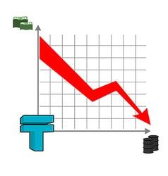 Kazakh tenge money falls Fall of rate of tenge Red vector