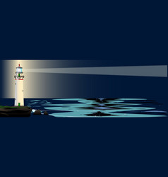 Lighthouse night background vector