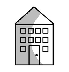 line house with roof and windows with door vector image vector image