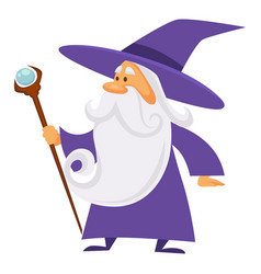 Magician and wizard with scepter warlock man in vector