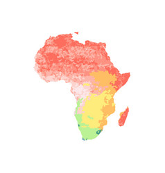 map africa with red orange yellow blue green vector image