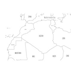 Map north-western africa handdrawn doodle vector