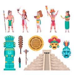 maya civilization cartoon set vector image