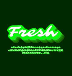 Modern 3d blend bright green text effect or font vector