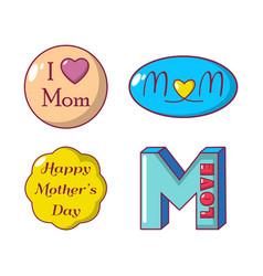 mom emblem icon set cartoon style vector image