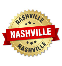 Nashville round golden badge with red ribbon vector