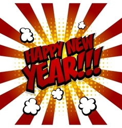 New year Speech comic text red yellow vector