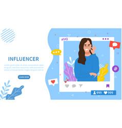 Online or internet influencer for social media vector