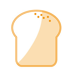 Orange silhouette shading cartoon slice of bread vector