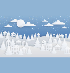 Paper craft winter background christmas landscape vector