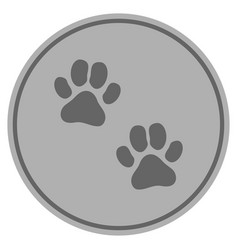 Paw footprints silver coin vector
