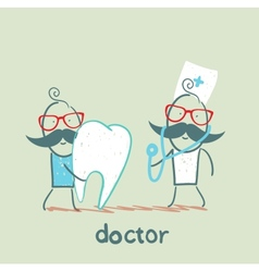 Physician and patient with a sore tooth vector