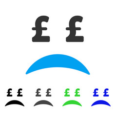 Pound bankrupt sad emotion flat icon vector