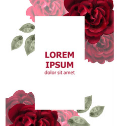 Red roses watercolor card invitation card vector