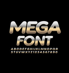 reflective silver mega font metal alphabet vector image